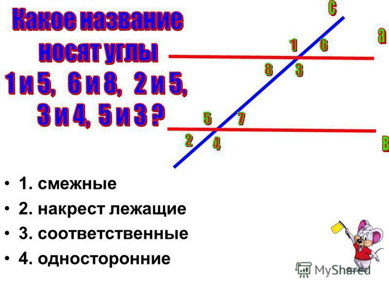 1. смежные 2. накрест лежащие 3. соответственные 4. односторонние