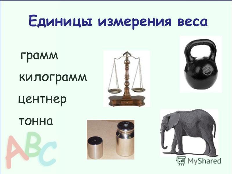 Единицы измерения веса грамм килограмм центнер тонна