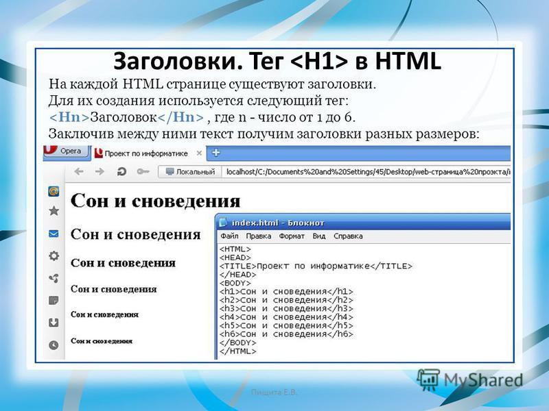Заголовки. Тег в HTML На каждой HTML странице существуют заголовки. Для их создания используется следующий тег: Заголовок, где n - число от 1 до 6. Заключив между ними текст получим заголовки разных размеров: Пищита Е.В.