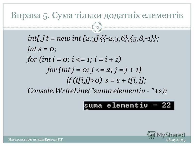 Вправа 5. Сума тільки додатніх елементів int[,] t = new int [2,3] {{-2,3,6},{5,8,-1}}; int s = 0; for (int i = 0; i <= 1; i = i + 1) for (int j = 0; j <= 2; j = j + 1) if (t[i,j]>0) s = s + t[i, j]; Console.WriteLine(