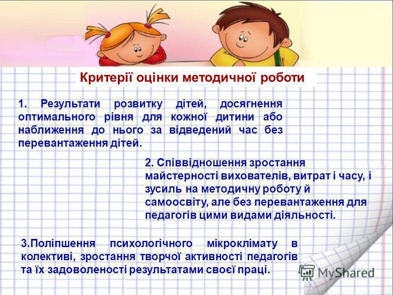 Критерії оцінки методичної роботи 1. Результати розвитку дітей, досягнення оптимального рівня для кожної дитини або наближення до нього за відведений час без перевантаження дітей. 2. Співвідношення зростання майстерності вихователів, витрат і часу, і