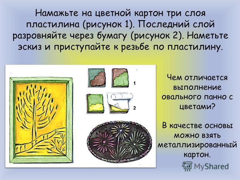 Намажьте на цветной картон три слоя пластилина (рисунок 1). Последний слой разровняйте через бумагу (рисунок 2). Наметьте эскиз и приступайте к резьбе по пластилину. Чем отличается выполнение овального панно с цветами? В качестве основы можно взять м