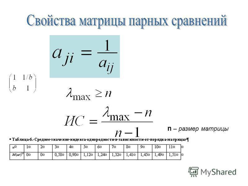 n – размер матрицы