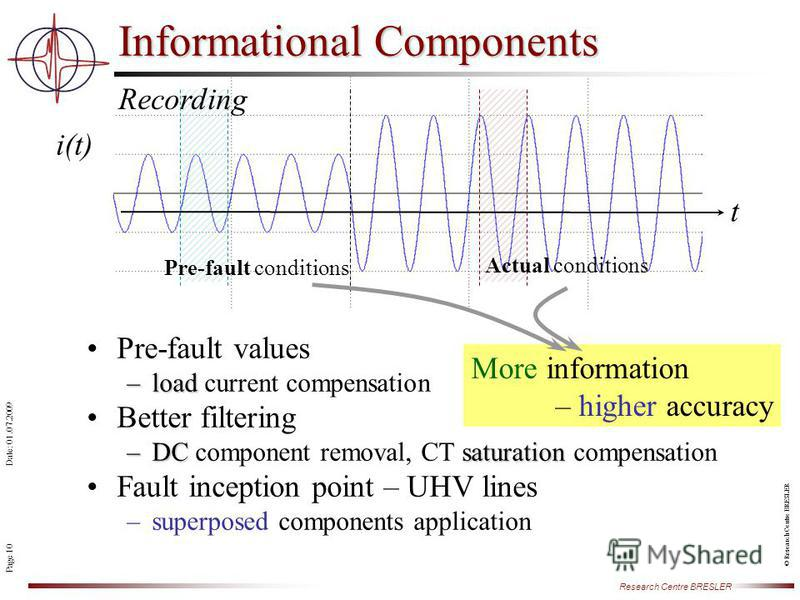Page 10 Research Centre BRESLER Date: 01.07.2009 © Research Centre BRESLER Informational Components Pre-fault values –load –load current compensation Better filtering –DCsaturation –DC component removal, CT saturation compensation Fault inception poi