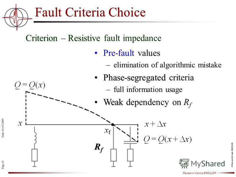 Page 11 Research Centre BRESLER Date: 01.07.2009 © Research Centre BRESLER Fault Criteria Choice Criterion – Resistive Criterion – Resistive fault impedance RfRfRfRf Pre-fault values –elimination of algorithmic mistake Phase-segregatedPhase-segregate