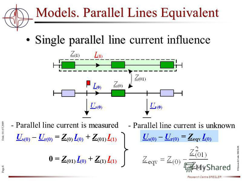 Page 8 Research Centre BRESLER Date: 01.07.2009 © Research Centre BRESLER Single parallel lineSingle parallel line current influence Models. Parallel Lines Equivalent measured - Parallel line current is measured unknown - Parallel line current is unk