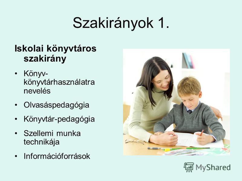 Szakirányok 1. Iskolai könyvtáros szakirány Könyv- könyvtárhasználatra nevelés Olvasáspedagógia Könyvtár-pedagógia Szellemi munka technikája Információforrások