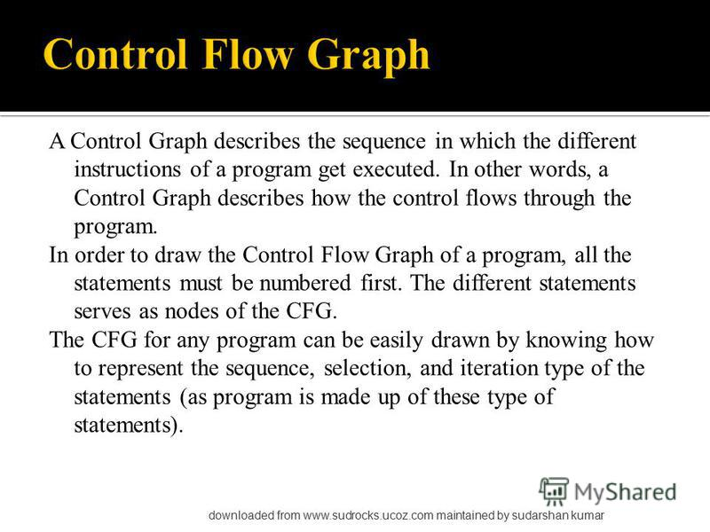 A Control Graph describes the sequence in which the different instructions of a program get executed. In other words, a Control Graph describes how the control flows through the program. In order to draw the Control Flow Graph of a program, all the s