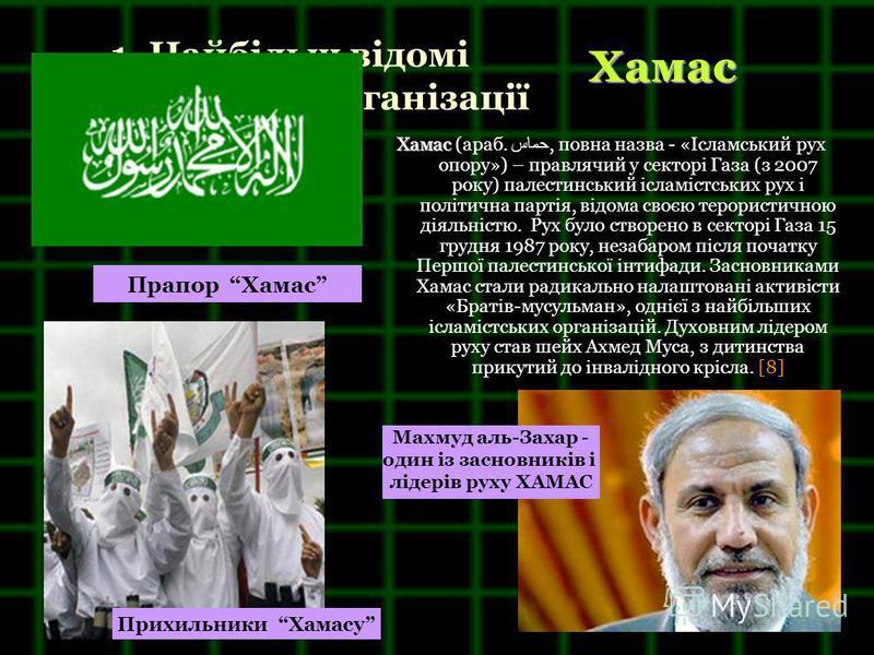 1. Найбільш відомі терористичні організації Хамас Хамас (араб. حماس, повна назва - «Ісламський рух опору») – правлячий у секторі Газа (з 2007 року) палестинський ісламістських рух і політична партія, відома своєю терористичною діяльністю. Рух було ст