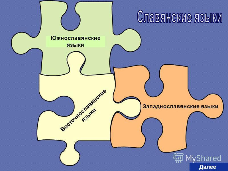 Южнославянские языки Восточнославянские языки Западнославянские языки Далее