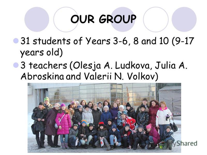 OUR GROUP 31 students of Years 3-6, 8 and 10 (9-17 years old) 3 teachers (Olesja A. Ludkova, Julia A. Abroskina and Valerii N. Volkov)