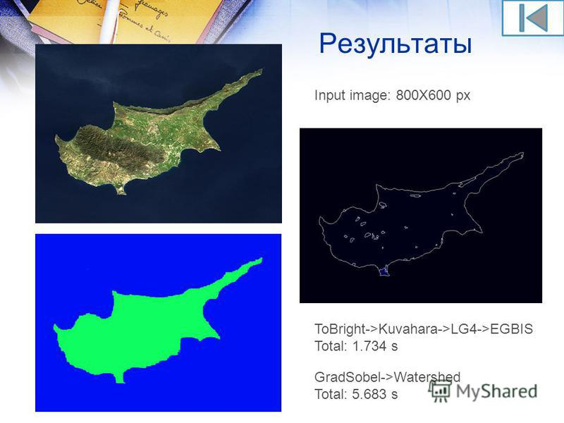 Результаты ToBright->Kuvahara->LG4->EGBIS Total: 1.734 s GradSobel->Watershed Total: 5.683 s Input image: 800X600 px