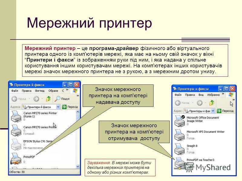 Мережний принтер Мережний принтер – це програма-драйвер фізичного або віртуального принтера одного із комп'ютерів мережі, яка має на ньому свій значок у вікніПринтери і факси із зображенням руки під ним, і яка надана у спільне користування іншим кори
