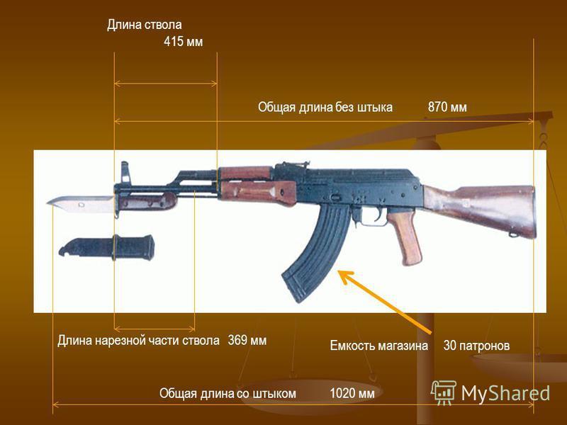 Длина ствола 415 мм Длина нарезной части ствола 369 мм Общая длина со штыком 1020 мм Общая длина без штыка 870 мм Емкость магазина 30 патронов