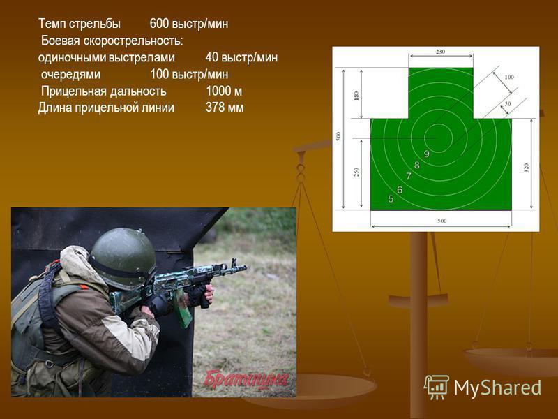 Темп стрельбы 600 выстр/мин Боевая скорострельность: одиночными выстрелами 40 выстр/мин очередями 100 выстр/мин Прицельная дальность 1000 м Длина прицельной линии 378 мм