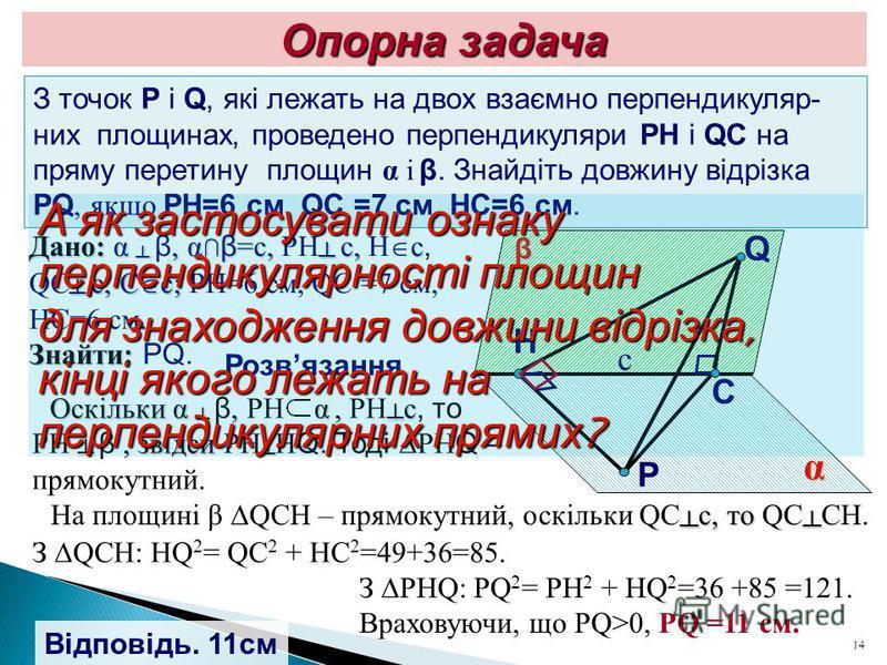 14 Опорна задача З точок P і Q, які лежать на двох взаємно перпендикуляр- них площинах, проведено перпендикуляри PH і QC на пряму перетину площин α і β. Знайдіть довжину відрізка PQ, якщо PH=6 см, QC =7 см, HC=6 см. Дано: α β, αβ=с, РН с, Н с, QC с,