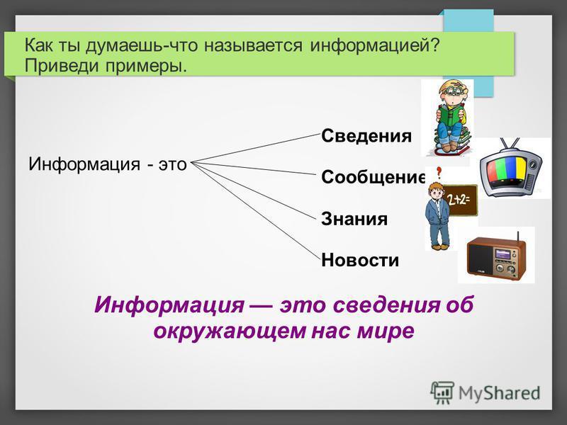 Как ты думаешь-что называется информацией? Приведи примеры. Информация - это Сведения Сообщение Знания Новости Информация это сведения об окружающем нас мире