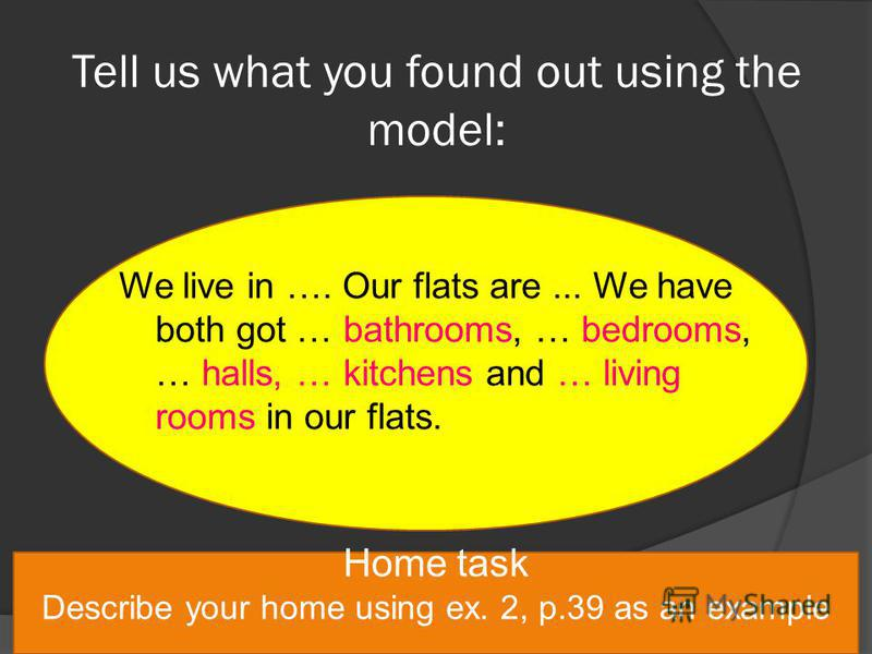 Tell us what you found out using the model: We live in …. Our flats are... We have both got … bathrooms, … bedrooms, … halls, … kitchens and … living rooms in our flats. Home task Describe your home using ex. 2, p.39 as an example