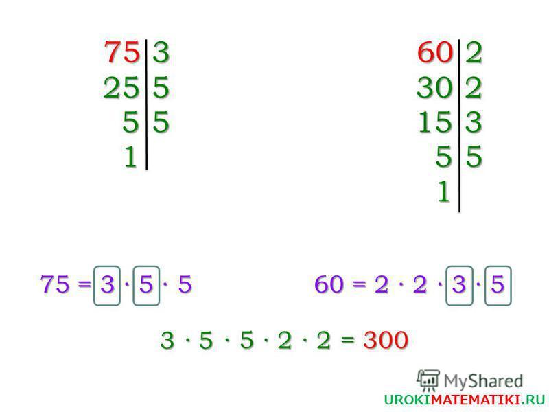 753 255 55 1 602 302 153 55 1 75 = 3 5 5 75 = 3 5 5 60 = 2 2 3 5 3 5 UROKIMATEMATIKI.RU 5 2 2 = 300 = 300