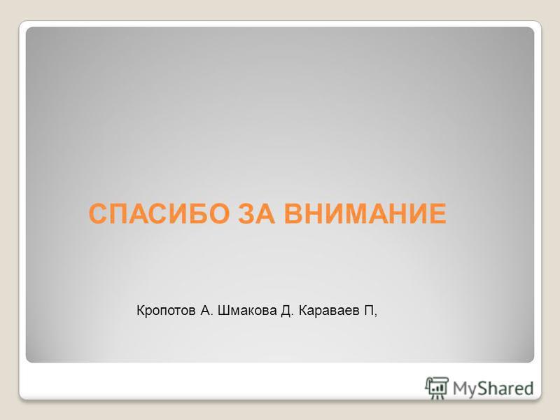 СПАСИБО ЗА ВНИМАНИЕ Кропотов А. Шмакова Д. Караваев П,