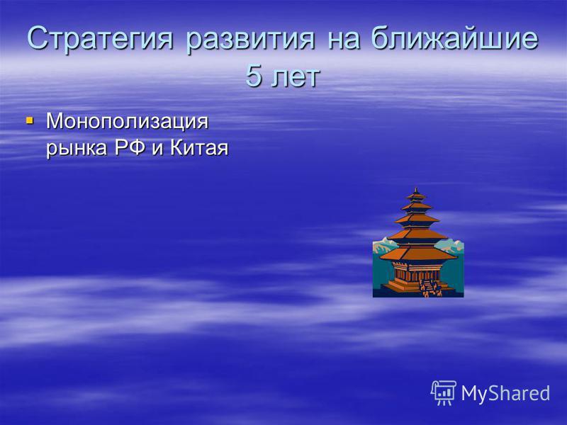 Стратегия развития на ближайшие 5 лет Монополизация рынка РФ и Китая Монополизация рынка РФ и Китая