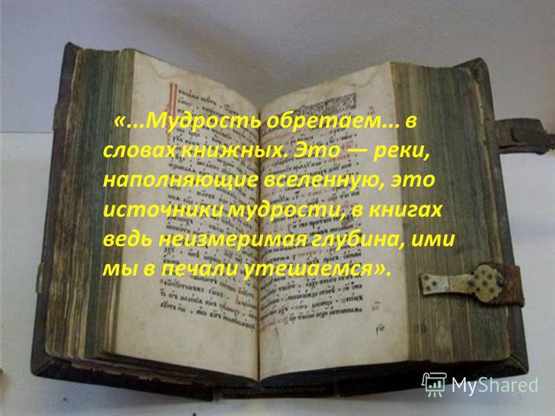 «...Мудрость обретаем... в словах книжных. Это реки, наполняющие вселенную, это источники мудрости, в книгах ведь неизмеримая глубина, ими мы в печали утешаемся». 5
