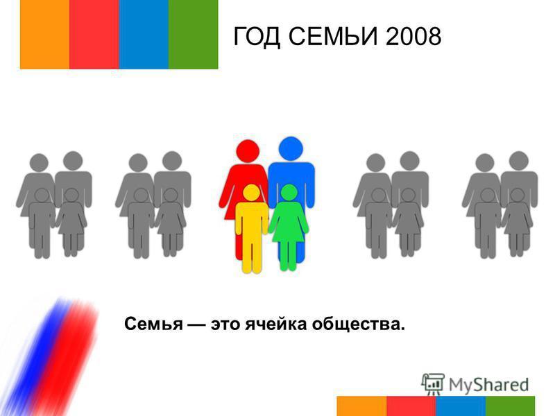 ГОД СЕМЬИ 2008 Семья это ячейка общества.