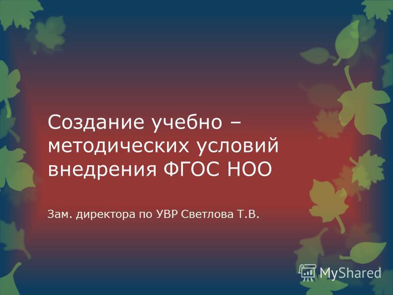Создание учебно – методических условий внедрения ФГОС НОО Зам. директора по УВР Светлова Т.В.
