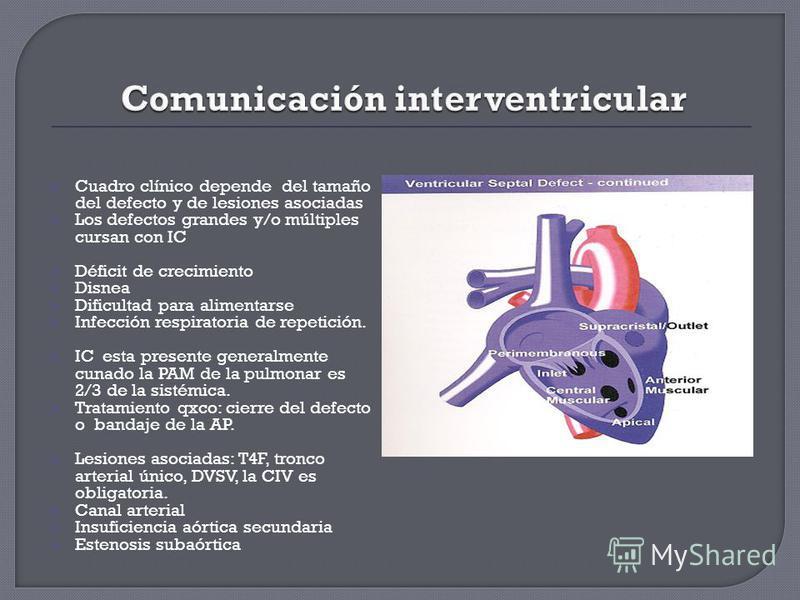 Cuadro clínico depende del tamaño del defecto y de lesiones asociadas Los defectos grandes y/o múltiples cursan con IC Déficit de crecimiento Disnea Dificultad para alimentarse Infección respiratoria de repetición. IC esta presente generalmente cunad