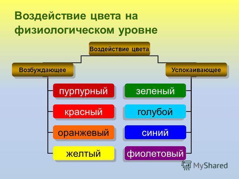 Воздействие цвета на физиологическом уровне Воздействие цвета Возбуждающее Успокаивающее пурпурный красный оранжевый желтый зеленый голубой синий фиолетовый