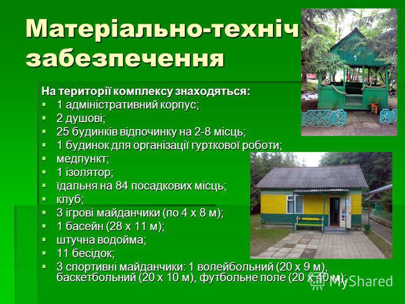 Матеріально-технічне забезпечення На території комплексу знаходяться: 1 адміністративний корпус; 1 адміністративний корпус; 2 душові; 2 душові; 25 будинків відпочинку на 2-8 місць; 25 будинків відпочинку на 2-8 місць; 1 будинок для організації гуртко