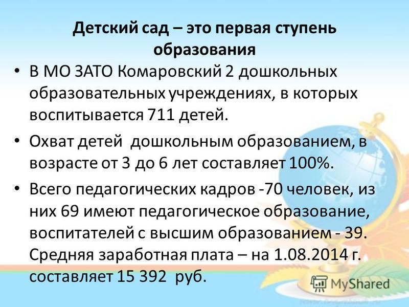 Детский сад – это первая ступень образования В МО ЗАТО Комаровский 2 дошкольных образовательных учреждениях, в которых воспитывается 711 детей. Охват детей дошкольным образованием, в возрасте от 3 до 6 лет составляет 100%. Всего педагогических кадров
