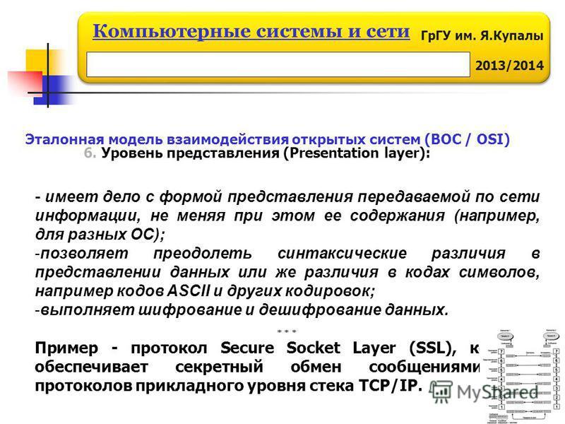 ГрГУ им. Я.Купалы 2013/2014 Компьютерные системы и сети 6. Уровень представления (Presentation layer): Эталонная модель взаимодействия открытых систем (ВОС / OSI) - имеет дело с формой представления передаваемой по сети информации, не меняя при этом