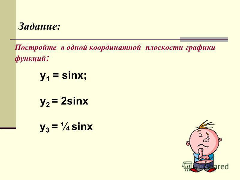 Постройте в одной координатной плоскости графики функций : y 1 = sinx; у 2 = 2sinx у 3 = ¼ sinx Задание: