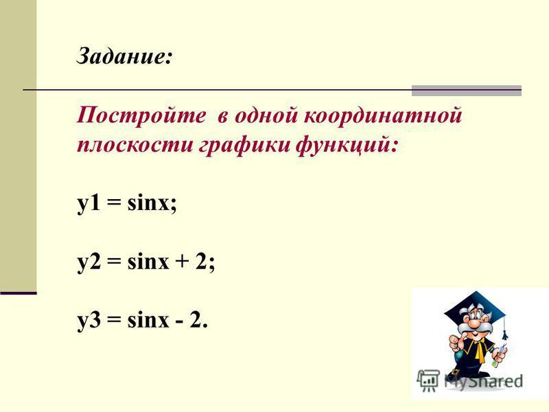 Задание: Постройте в одной координатной плоскости графики функций: y1 = sinx; у 2 = sinx + 2; у 3 = sinx - 2.