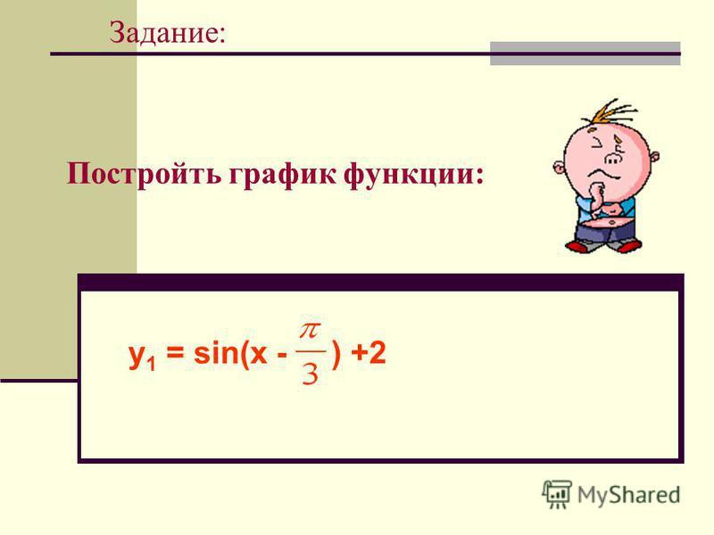 Постройть график функции: Задание: у 1 = sin(x - ) +2