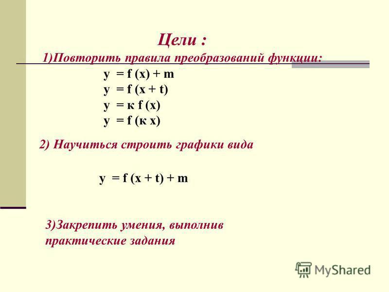Цели : 1)Повторить правила преобразований функции: y = f (x) + m y = f (x + t) y = к f (x) y = f (к x) 2) Научиться строить графики вида y = f (x + t) + m 3)Закрепить умения, выполнив практические задания