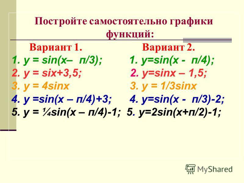 Постройте самостоятельно графики функций: Вариант 1. Вариант 2. 1. у = sin(x– п/3); 1. y=sin(x - п/4); 2. у = six+3,5; 2. y=sinx – 1,5; 3. у = 4sinx 3. у = 1/3sinx 4. у =sin(x – п/4)+3; 4. y=sin(x - п/3)-2; 5. у = ¼sin(x – п/4)-1; 5. y=2sin(x+п/2)-1;