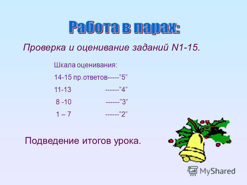Проверка и оценивание заданий N1-15. Шкала оценивания: 14-15 пр.ответов-----5 11-13 ------4 8 -10 ------3 1 – 7 ------2 Подведение итогов урока.