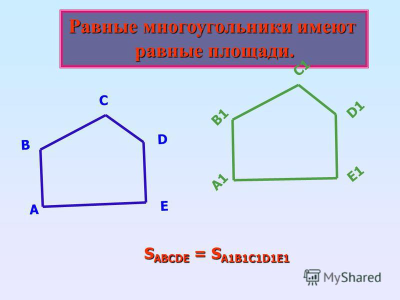 Равные многоугольники имеют равные площади. А В С D E А1 В1 С1 D1D1 E1E1 S ABCDE = S A1B1C1D1E1