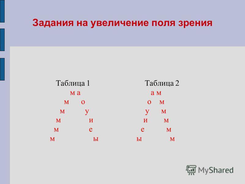 Задания на увеличение поля зрения Таблица 1 Таблица 2 м а а м м о о м м у у м м и и м м е е м м ы ы м