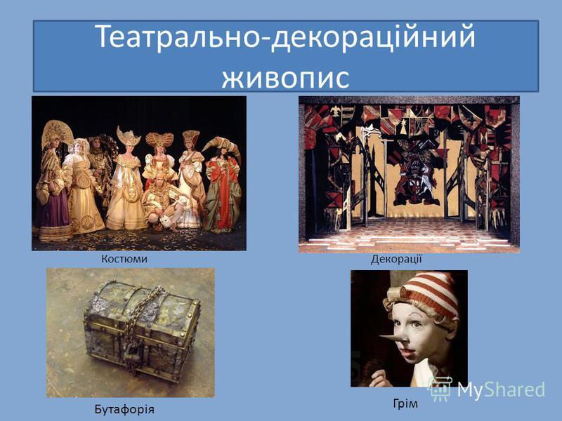 Костюми Декорації Театрально-декораційний живопис Бутафорія Грім