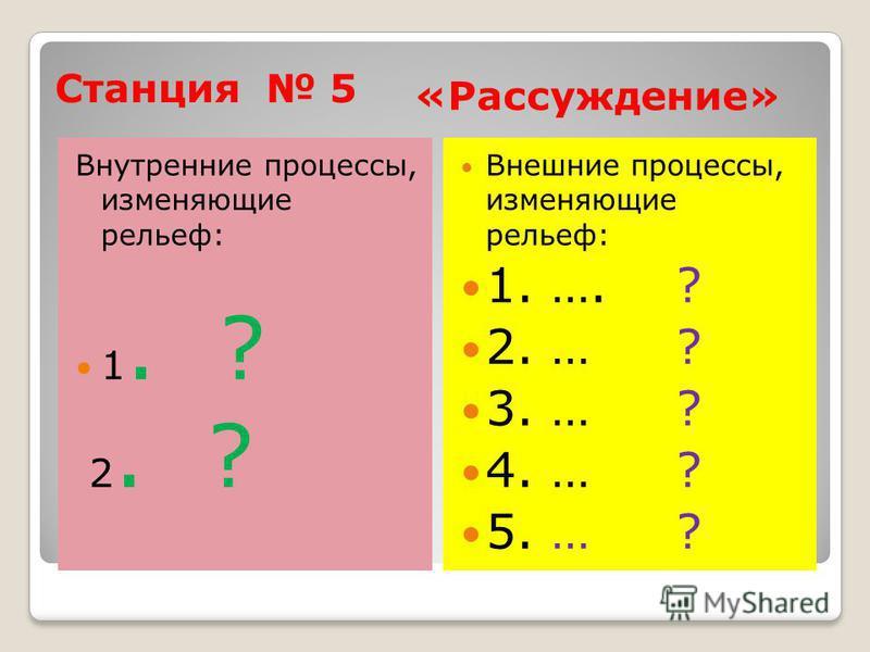 Станция 5 «Рассуждение» Внутренние процессы, изменяющие рельеф: 1. ? 2. ? Внешние процессы, изменяющие рельеф: 1. …. ? 2. … ? 3. … ? 4. … ? 5. … ?