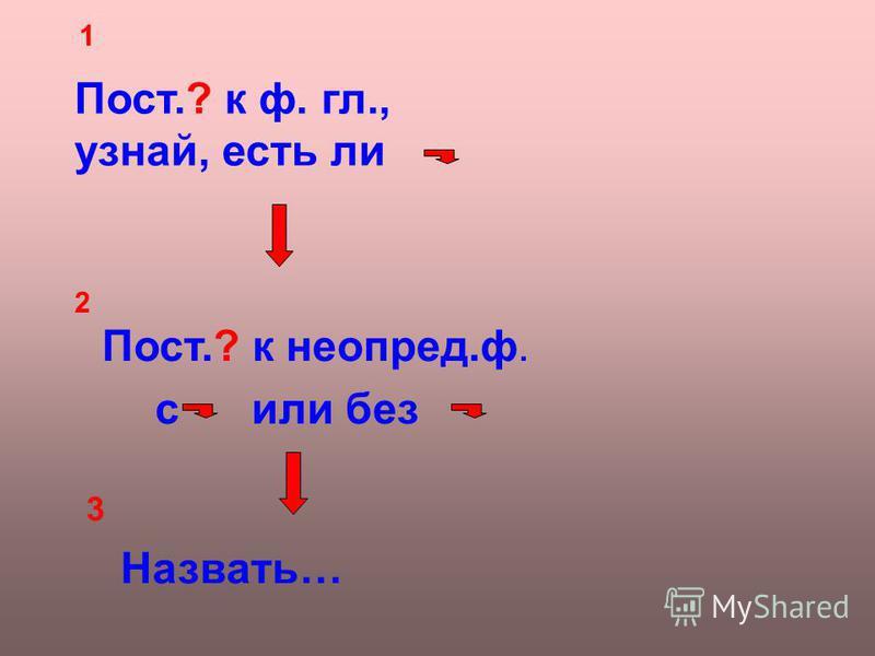 Пост.? к ф. гл., узнай, есть ли 1 2 Пост.? к неопред.ф. или без Назвать… 3 с
