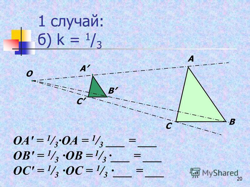 20 1 случай: б) k = 1 / 3 А В С О А В С ОА = 1 / 3 ОА = 1 / 3 ___ = ___ ОВ = 1 / 3 ОВ = 1 / 3 ___ = ___ ОС = 1 / 3 ОС = 1 / 3 ___ = ___