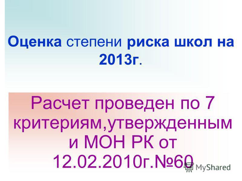 Оценка степени риска школ на 2013 г. Расчет проведен по 7 критериям,утвержденным и МОН РК от 12.02.2010 г.60
