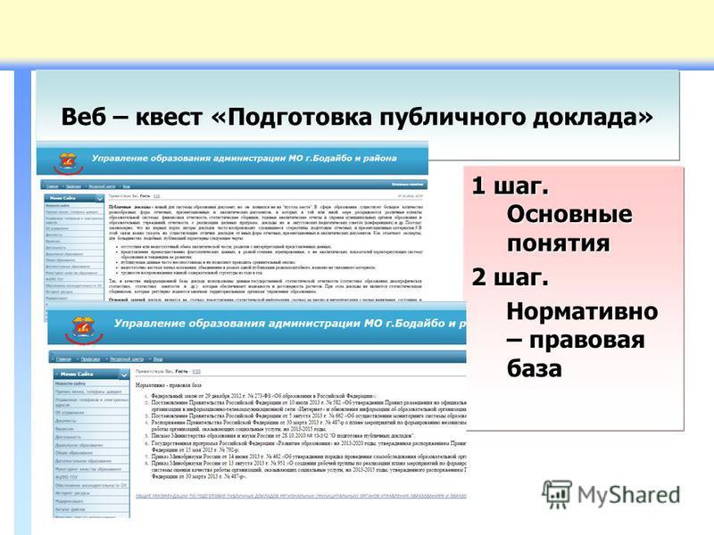 Веб – квест «Подготовка публичного доклада» 1 шаг. Основные понятия 2 шаг. Нормативно – правовая база Нормативно – правовая база