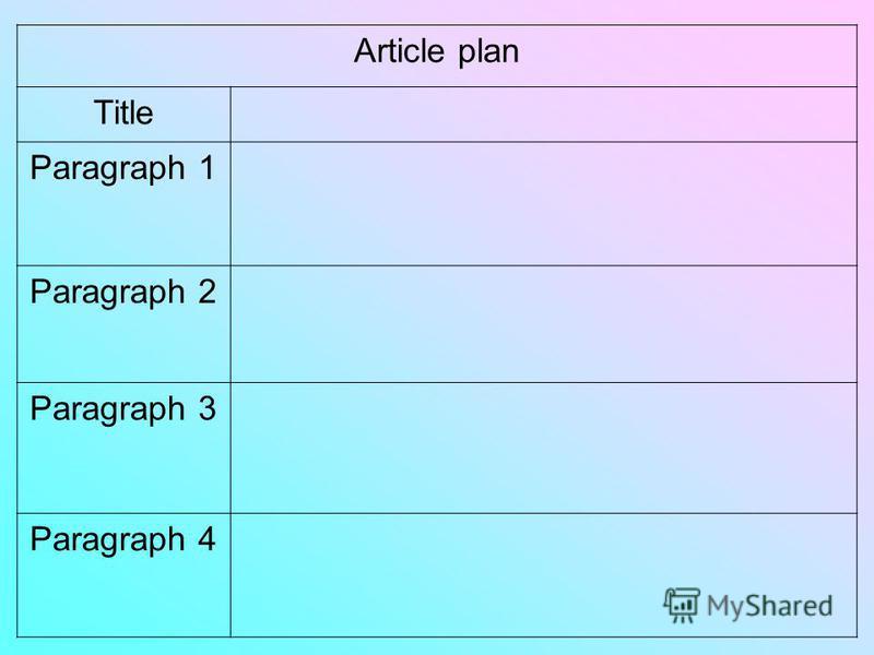 Article plan Title Paragraph 1 Paragraph 2 Paragraph 3 Paragraph 4
