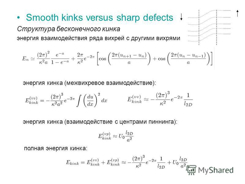 Smooth kinks versus sharp defects Структура бесконечного кинка энергия взаимодействия ряда вихрей с другими вихрями энергия кинка (межвихревое взаимодействие): энергия кинка (взаимодействие с центрами пиннинга): полная энергия кинка: