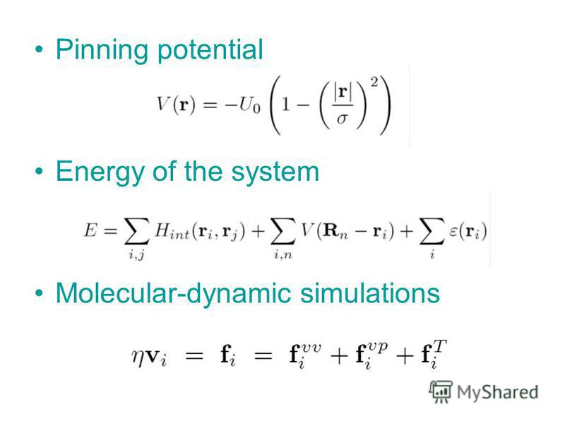 Pinning potential Energy of the system Molecular-dynamic simulations